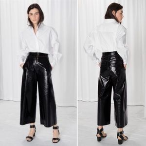 & Other Stories Patent Leather Culottes Black Sz 4